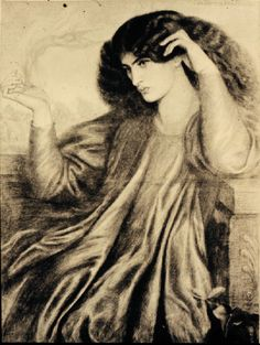 Dante Gabriel   Rossetti  Sketch of Jane Morris (wife of William Morris) from website for research on Rossetti.