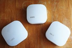 At long last, home WiFi that's just as good as a wired connection. The Eero wifi system. Technology Gifts, Wearable Technology, Whole House Wifi, Cool Office Supplies, Home Automation, Smart People, Cool Gadgets, Smart Home, Apple Tv