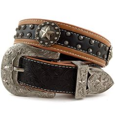 Western Peak Men's Tooled Genuine Leather Round Star Concho Embossed Buckle Belt
