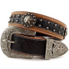 Western Peak Men's Tooled Genuine Leather Round Star Concho Embossed Buckle Belt