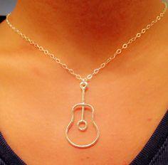 Guitar necklace, music note necklace, treble clef necklace, guitar handmade necklace on Etsy, $22.99
