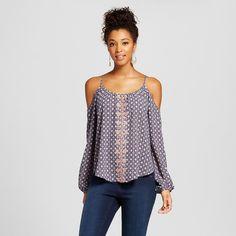 Women's Printed Cold-shoulder Long Sleeve Blouse - Xhilaration (Juniors') -