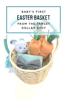Easterspring centerpiece for coffee table using target dollar babys first easter basket filled with items from the target dollar spot via the negle Gallery