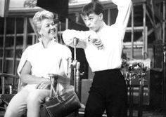 Doris and dancer Carol Haney on set of Pyjama Game