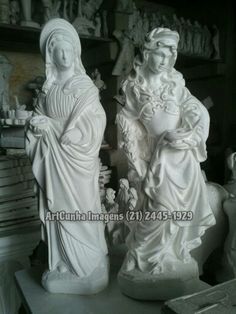Santa Luzia (modelos tradicional e barroco - 30 cm) #SantaLuzia #artesacra #artesanato #gesso