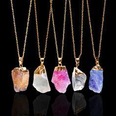 18K Gold Plated Rough Natural Stone Necklaces Irregular Shape Amethyst Crystal Druzy Blue Pendant Quartz Necklace for Women