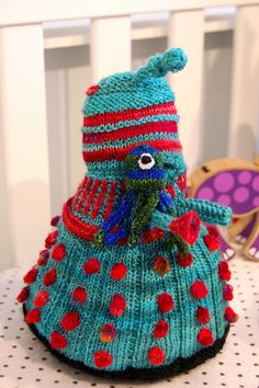 Knitted Dalek for the geeky baby