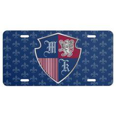 Silver Lion Coat of Arms Monogram Emblem Shield License Plate - cyo diy customize unique design gift idea