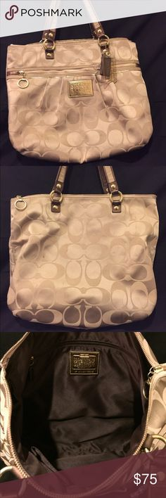 Coach Tote bag Large brown and tan tote Coach bag.. Used with some stains. Coach Bags Totes