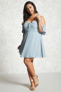 c4766df41d0 Forever 21 - Blue Plus Size Open-shoulder Dress - Lyst