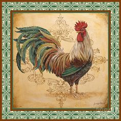 Renaissance Rooster-D-GREEN Art Print by Jean Plout. All prints are professionally printed, packaged, and shipped within 3 - 4 business days. Choose from multiple sizes and hundreds of frame and mat options. Frames On Wall, Framed Wall Art, Framed Prints, Art Prints, Rooster Art, Rooster Decor, Rooster Painting, Chicken Painting, Chicken Art
