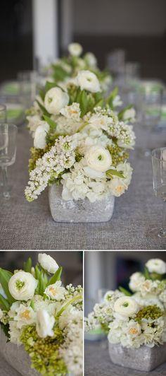 Modern and organic slate gray, green and ivory wedding decor inspiration ideas Ivory Wedding Decor, White Wedding Flowers, Green Wedding, Wedding Themes, Wedding Designs, Floral Wedding, Wedding Colors, Wedding Styles, Our Wedding