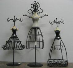 Black Metal Jewelry Holder Ladies Bustier Dress Form Silver Organizer Gift Decor | eBay