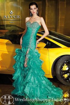 Alyce Designs Prom Dress 6115. Fit and flare, green prom dresses at the Wedding Shoppe, http://www.weddingshoppeinc.com. #emerald #green #promdresses