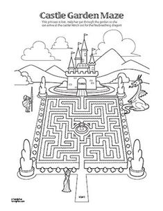 Royal printable...maze with castle, knight, dragon? #disneyfamilyfun