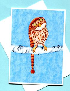 Little Winter Owl Card Christmas Greeting Card by MILESTOGOwithALI, $5.00