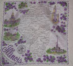 Illinois state map + purple violets [handkerchief / scarf]