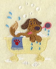 Cutie Dog in Tub Embroidered Terry Kitchen or Bath by VelvetHearts