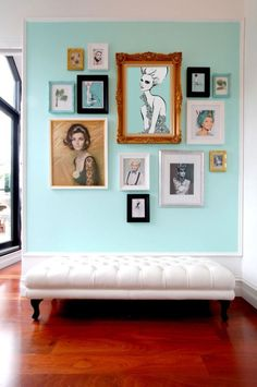 Love the idea of painting on the wall then putting a frame over it!! Yesss!