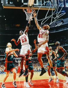 c59f04680 Dennis Rodman Signed Chicago Bulls Action With Michael Jordan 11x14 Photo  Nba Championships