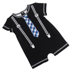 "Babyrageous Boys Black Fux Suspender and Tie Romper - Babies R Us - Babies ""R"" Us"