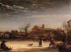 Winter Lanscape, Rembrandt Harmenszoon van Rijn (1646) Staatliche Museen, Schloss Wilhelmshohe, Kassel.