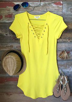 Fun in the Sun Tie Dress: Yellow