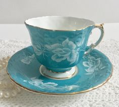Turquoise Aynsley China Tea Cup & Saucer by NicerThanNewVintage on Etsy https://www.etsy.com/au/listing/478570290/turquoise-aynsley-china-tea-cup-saucer