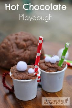 Hot Chocolate Playdough is one of our favorite sensory activities for children, because it allows them to get their hands messy with a fun winter smell.
