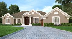 The exterior of this home plan boasts a classic hipped roofline with stunning gables and a front side-entry garage that doesn't compete with the façade. Mediterranean House Plans, Mediterranean Style, Family Room Fireplace, House Information, European House Plans, Gate House, Dream House Exterior, Entry Doors, Home Buying
