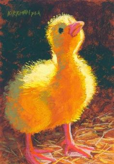 "DPW Fine Art Friendly Auctions - ""Duckling in the Light"" pastel, 7x5 inches) by Rita Kirkman"