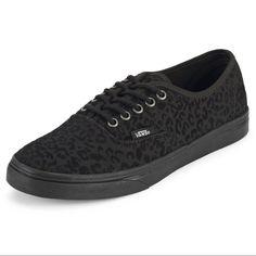 Vans Authentic Lo Pro Shoe Vans Authentic Lo Pro Shoe. Classic low top shoes for women. Solid black colorway with cheetah print throughout. Only worn a half dozen times. Size 8.5 Vans Shoes