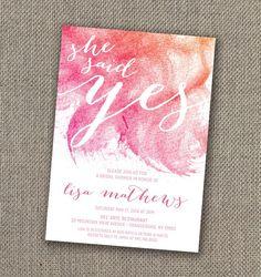 She said Yes - Bridal Shower Invitation, Foral Bridal Shower Invite, DIY