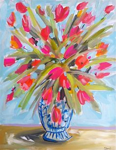 Abstract Tulips Flowers Large Still Life canvas by Marendevineart, watercolor style, hot pink, aqua, citron
