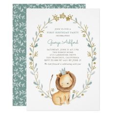 Watercolor Lion Prince First Birthday Party Invitation
