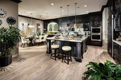 The Highlands at Baker Ranch in Lake Forest, CA - Palisade Model Kitchen Grey Kitchen Cabinets, Kitchen Cabinet Design, Kitchens With Dark Cabinets, Tall Cabinets, Black Cabinets, Küchen Design, House Design, Interior Design, Luxury Kitchens