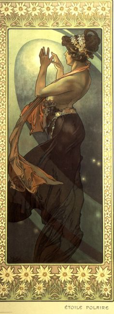 "art poster ""The Moon and the Stars: The Pole Star"" by Alphonse Mucha (1902)"
