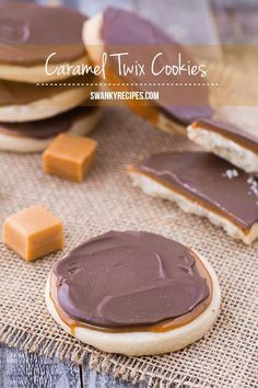 Caramel Twix Cookie - The perfect Twix cookie starts with an unbelievably decadent Shortbread cookies topped with a layer of smooth caramel and a generous layer of gourmet milk chocolate topping.  Get ready for the ultimate fun dessert, these cookies are incredibly easy to make!