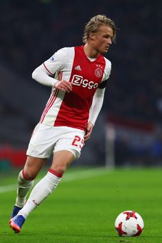 Kasper Dolberg of Ajax in action during the Eredivisie match between Ajax Amsterdam and ADO Den Haag held at Amsterdam Arena on January 29, 2017 in Amsterdam, Netherlands.