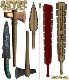 Aztec/Mexica (modern depiction of various weapons, some of them obsidian-edged) Ancient Aztecs, Ancient Civilizations, Aztec Weapons, Cultures Du Monde, Aztec Empire, Aztec Culture, Beil, Aztec Warrior, Inka