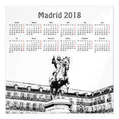 Madrid Spain 2018 calendar magnetic card - invitations personalize custom special event invitation idea style party card cards