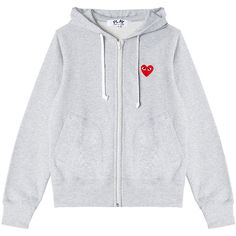 CDG Play sweatshirt ($337) ❤ liked on Polyvore featuring tops, hoodies, sweatshirts, jackets, outerwear, clothing - hoodies, embroidered sweatshirts, hooded zipper sweatshirts, grey sweatshirt and zipper sweatshirt