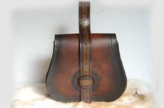 Escarcelle/pochette Style Viking Marron dégradé noir par ALeatherCC