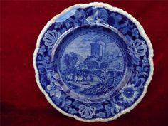 "Antique Stevenson Castles Blue & White 10"" Plate c1825 Signed & Stamped"