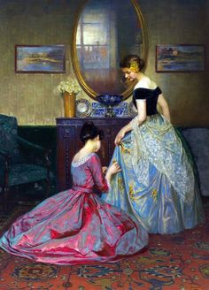 The Fitting - Viktor Schramm , 1900 These gowns are stunning! #art #painting #viktorschramm