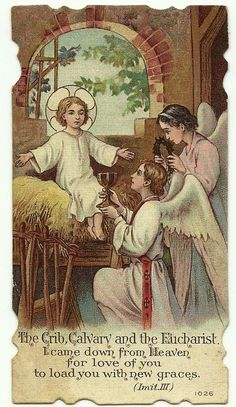 The Crib, Calvary and the Eucharist, came down from Heaven for love of you to load you with new graces.