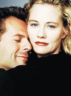 Bruce Willis and Cybill Shepherd for  Moonlighting, 1985 - 1989. Via http://hollywoodlady.tumblr.com/