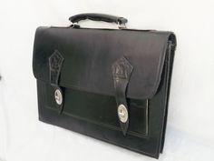 Black Leather Messenger Laptop Satchel Bag Briefcase Tote, Handmade Soft Leather Mens Macbook Computer Bag Black