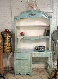 Vintage Painted Cottage Shabby Aqua Chic Desk with Hutch DK124
