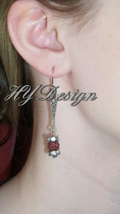 Earrings.  Antique Silver, Red, Crystal Rhinestones, beads. Fashion, Style, Edgy, trendy, custom, Glam, Sparkle, girlie. Handmade Jewelry #HYD